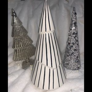 Christmas Tree Tall Ceramic Black Modern Stripes